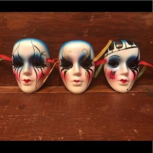 Other - 🎭 Set of 3 Mini Painted Mardi Gras Carnival Masks